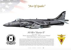 "AV-8B+ ""Harrier II"" Marine Attack Squadron 231 (VMA-231) ""Ace Of Spades"" Cherry Point Marine Corps Air Station"