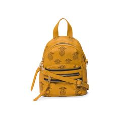 Pineapple Mini Backpack ($20) ❤ liked on Polyvore featuring bags, backpacks, real leather backpack, yellow backpack, leather daypack, leather zipper backpack and genuine leather backpack