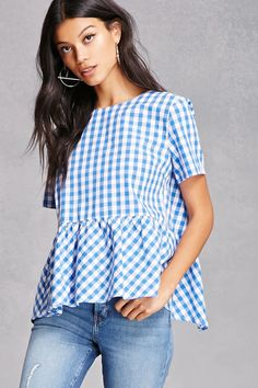 A woven top featuring an allover checkered print, a round neckline, an open caged back with three contrasting self-ties, short sleeves, and a dropped ruffled waist.<p>- This is an independent brand and not a Forever 21 branded item.</p>