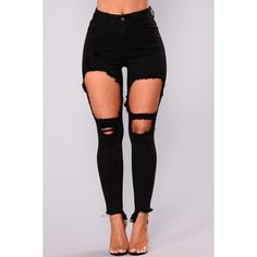 Shawna Distress Jeans Black ($28) ❤ liked on Polyvore featuring jeans, pants, high-waisted skinny jeans, distressed jeans, denim skinny jeans, high rise jeans and stretchy skinny jeans