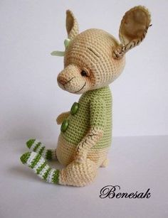 Thread Artist Crochet Miniature Bear Rabbit Doll by Benesak | eBay