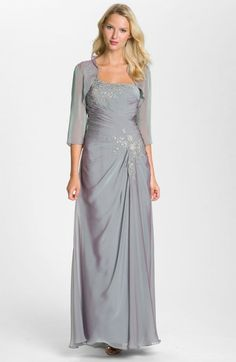 Julietta Womens One Shoulder Embroidered Chiffon Gown Beaded Bolero | Jacket, Coat and Clothing