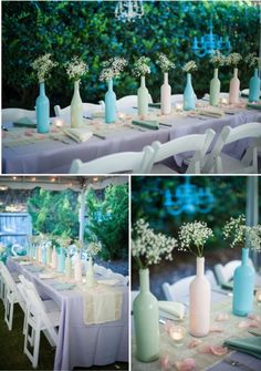Outer Banks NC Wedding, Style by Design www.sbdva.com baby's breath wine bottles