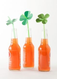 four leaf clover straw toppers