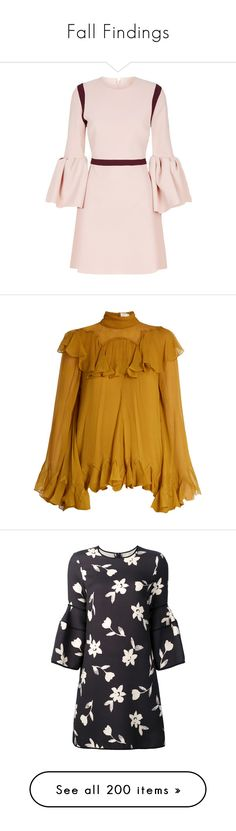 """Fall Findings"" by brassbracelets ❤ liked on Polyvore featuring dresses, платья, pink dress, oversized dress, pale pink dresses, roksanda dress, pink crepe dress, tops, blouses and shirts"