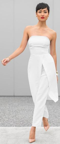 White Pant Suit Nude Pumps by Micah Gianneli