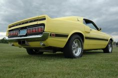 1969 Bright Yellow Shelby Mustang fastback, low rear right view. 1969 Mustang Fastback, Ford Mustang Shelby Cobra, Mustang Boss, Gt500, Hot Rides, First Car, Mustangs, Bright Yellow, Bling Bling