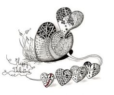 Efie goes Zentangle: art-tangle-club valentine intertwined with Lace