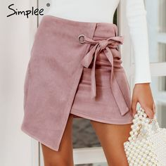 6e788cdf6ff3c4 split black skirt Sash suede sexy high waist women skirt PTC 2018. Tie SkirtDenim  SkirtCheap SkirtsMini SkirtsSkirt FashionWomen's ...
