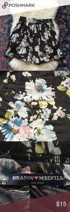 RARE floral brandy Melville skirt Beautiful floral brandy skirt, very lightly worn no damage or signs of wear. One size but would fit anyone in the same to medium range Brandy Melville Skirts Mini