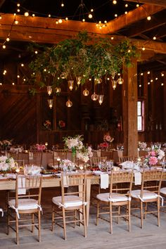 string lights in the barn at Belle Haven | Sera Petras