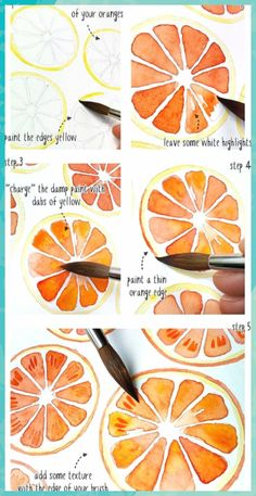 Aquarell orangen muster tutorial aquarell muster orangen paintingartideas patterns and starter pages Watercolor Paintings For Beginners, Watercolour Tutorials, Watercolor Techniques, Art Techniques, Watercolour Painting, Painting & Drawing, Tattoo Watercolor, Watercolor Trees, Abstract Watercolor