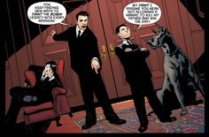 """Can I just say that I have always loved Dick's nonchalance in this frame? Tim and Damian are busy arguing over the Robin legacy, and there's Dick. The FIRST Robin. And he's just like """"can you guys please behave so I can sleep? kthxbai"""""""