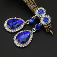 Wedding Jewelry Rhinestone Style Wedding Earrings For Women Blue