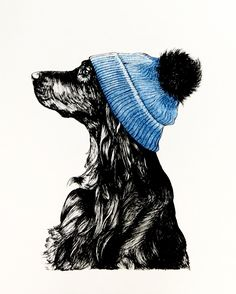 Tonal Spaniel wearing blue bobble hat in ink pens and watercolours. This will be available as a print soon!