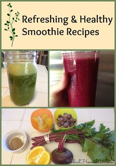 Refreshing and Healthy Smoothie Recipes - really tempted to give this a try for lunch at work! I'll just prep.all ingredients the night before and bring my handy bullet blender! ;)