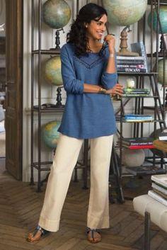 Straight Leg Gauze Pants - Straight Leg Pants, Gauze, Pull-on Styling   Soft Surroundings