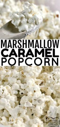 Marshmallow Caramel Popcorn is soft, sweet and deliciously gooey! Only 3 simple ingredients to make the caramel sauce to pour over popcorn and marshmallows! sugar treat popcorn marshmallow carame is part of Snack recipes - Marshmallow Popcorn, Marshmallow Cream, Snack Recipes, Dessert Recipes, Cooking Recipes, Popcorn Snacks, Popcorn Balls, Sweet Popcorn Recipes, Homemade Popcorn