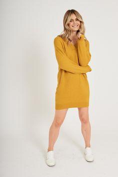 Katreena Knit Dress in Mustard Yellow - St Frock Mustard Yellow, Knitted Fabric, Frocks, Knit Dress, Lounge Wear, High Neck Dress, Knitting, Model, Sweaters