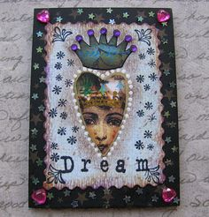 Original ACEO ATC  QuEEn oF HEaRts  Art Card by LisasMenagerie