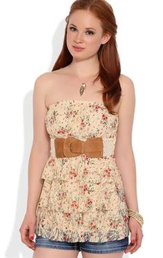 Deb Shops Lace Tube Top with Small Floral Print and Belt $16.80