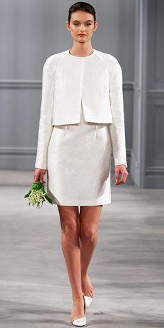 Monique Lhuillier Spring 2014: Ivory crinkle jacquard raglan sleeve jacket and ivory crinkle jacquard sleeveless shift dress.