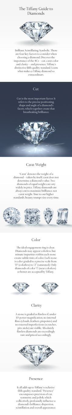 "Tiffany doesn't only grade their diamonds on the standard 4Cs. We also use a unique fifth element, ""presence,"" that impacts a diamond's brilliance and dispersion in profound ways."