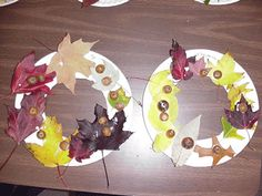 Description: Cut the center out of a paper plate and have the children paint the paper plate, brown. Next, go for a walk to find fall leaves, acorns and pine cones. When the plates are dry give the children glue and let them have fun.