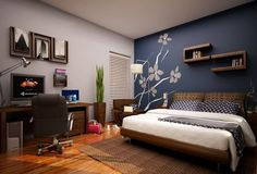 Romantic master bedroom paint colors romantic bedroom paint colors ideas lovely blue master bedroom paint color ideas home improvement neighbor fence Bedroom Wall Designs, Modern Bedroom Decor, Bedroom Ideas, Design Bedroom, Stylish Bedroom, Bedroom Pictures, Bedroom Styles, Contemporary Bedroom, Blue Accent Walls