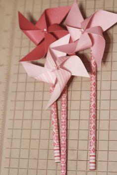 Pencil Favors 6 Mini Spinnable pencil Pinwheels (Custom order welcomed) #Pink #Wedding #PinkWedding #Paper