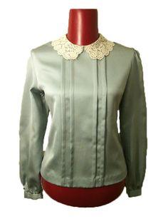 Designer Vintage Crochet Collar Blouse by DIYstylist on Etsy, $14.99