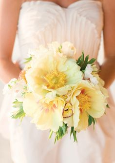 Buttercream Bridal Bouquet with~ Pale Yellow Tree Peonies, Variegated Ranunculus, White Tulips & White Sweet Peas