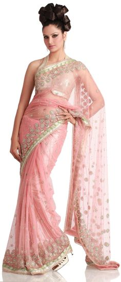 PINK NET #SAREE - Indian Designer Bridal Wear Collection @ Angarkh.com