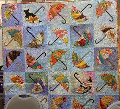 BEAUTIFUL QUILTING ON AN UMBRELLA QUILT PC Cute Quilts, Scrappy Quilts, Small Quilts, Mini Quilts, Motifs Applique Laine, Applique Patterns, Applique Quilts, Quilting Tutorials, Quilting Designs