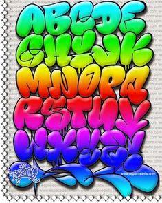 """Alfabeto """"Graffiti"""" Cor   Graffiti Hall"""