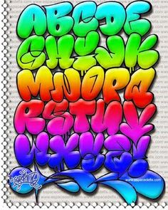 "Alfabeto ""Graffiti"" Cor | Graffiti Hall                                                                                                                                                     Mais"
