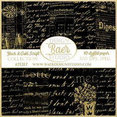 Black and Gold Script Digital Scrapbook Paper- #21317, digital scrapbook paper, digital elements for creating cards, DIY invitations, giftwrap, posters, planner stickers and more.
