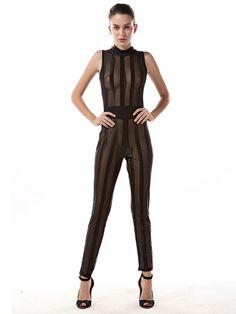 49eb7f729d Women Summer Fashion Turtle Neck Sleeveless Jumpsuit Female Sexy See  Through Transparent Black Bodysuit W880636.