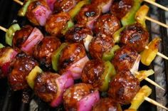 Grilled Asian Meatballs-These can be served as an appetizer or as an entrée with some simple steamed rice.  They are easy to make and addictive to eat.