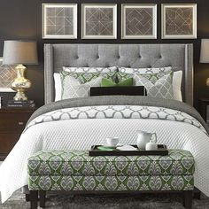 Transitional Master Bedroom with Bassett Furniture Custom Upholstered Beds Dublin Winged Bed, Leda Table Lamp, Carpet Dream Bedroom, Home Decor Bedroom, Bedroom Furniture, Bedroom Ideas, Green Master Bedroom, Master Bedrooms, Bedroom Inspiration, Grey Headboard, Homemade Home Decor