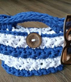 This royal blue and white T-yarn Star Tote Bag derives its name from the Star Stitch that was used to crochet it. The bag is a wonderful accessory for weeke. Star Stitch, Straw Bag, Royal Blue, Blue And White, Tote Bag, Stars, Crochet, Accessories, Totes