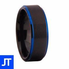 Carbide Tungsten Blue Anniversary Ring - Mens - Jewellerytribe.com #MensRing #TungstenCarbide #CarbideTungsten Tungsten Mens Rings, Tungsten Carbide, Anniversary Rings, Great Gifts, Rings For Men, Engagement, Blue, Ring, Men Rings
