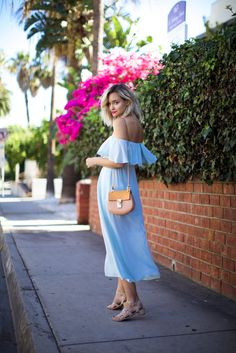 light blue off shoulder dress