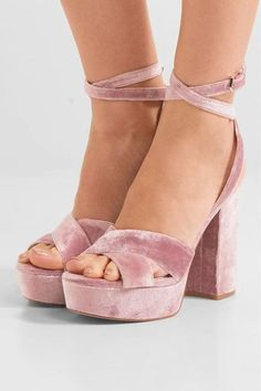 Heel measures approximately 125mm/ 5 inches with a 25mm/ 1 inch platform  Antique-rose velvet and leather Buckle-fastening ankle strap Designer color: Faded RoseLarge to size. See Size & Fit notes.