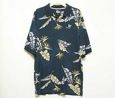 Tommy Bahama Men's Short Sleeve Blue Floral Kapalua Hawaiian Polo Shirt Size M