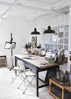 work space w/ black pendants