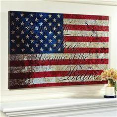 USA Flag Painted on Canvas