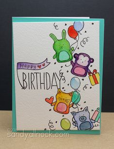 Awesome Happy Birthday card by Sandy Allnock using brand new Simon Says Stamp Exclusives from the Falling for you release.