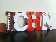 Sports Wooden Letters Nursery Letters Wall by BabeeCakesBoutique- DIY with wooden letters, scrapbook paper, and Mod Podge