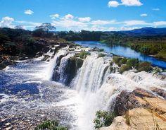 Grande Waterfall, Minas Gerais, Brazil - Watch > http://destinations-for-travelers.blogspot.com.br/2014/07/cachoeira-grande-lagoa-santa-serra-do-cipo-minas-gerais.html